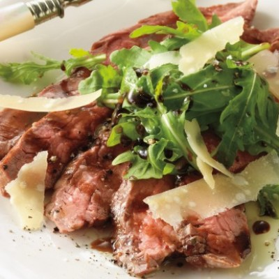 Tagliata of Flank Steak with Arugula and Shaved Parmesan