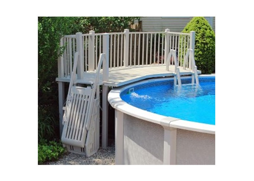5 X13 5 Resin Pool Deck With Steps And Gate Fence
