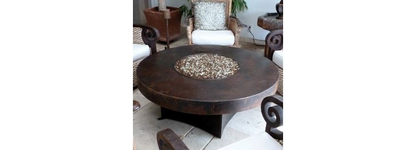 Oriflamme Hammered Copper Fire Table - Fire Pits & Tables